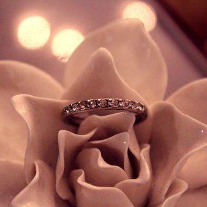 Silver gem studded ring
